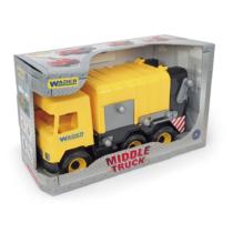 Kukásautó billenthető szemeteskukával sárga 42 cm