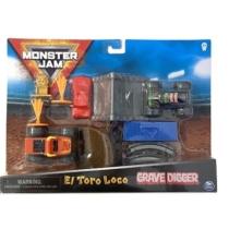 Monster Jam játékautó mutatványos szett műanyag pályaelemekkel (Grave Digger és El Toro Loco) 1:70