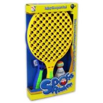 Nyári sport tollasütő készlet szivacs és tollaslabdával kék citromsárga