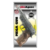 Pisztoly patronos 8 lövetű Mega Gun áttetsző műanyag