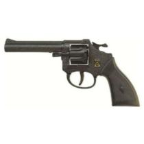 Pisztoly revolver patronos 8 lövetű forgótáras Jerry fekete műanyag
