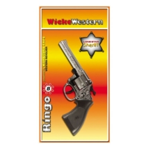 Pisztoly western revolver patronos 8 lövetű forgótáras Ringo Chrome műanyag