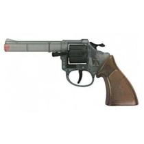 Pisztoly western revolver patronos 8 lövetű forgótáras Ringo áttetsző műanyag
