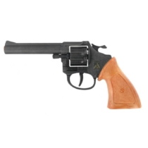 Pisztoly western revolver patronos 8 lövetű forgótáras Ringo fekete műanyag