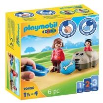 Playmobil 1.2.3 sétáltatható kutya és figura 6 db-os - 70406
