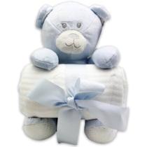 Plüss kék maci kék 27 cm fehér takaróval