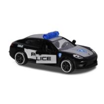 Majorette Porsche Prémium fém kisautó kártyával Panamera Turbo Rendőrautó fekete