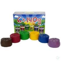 Puha gyurma szett 6 db-os 6 x 140 g (fekete, piros, zöld, sárga, kék, lila) Gyurmakirály