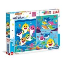 Puzzle Baby Shark cápák 3x48 db-os Clementoni