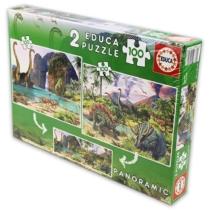 Puzzle Dinó világ 2 az 1-ben panoráma 2x100 db-os Educa