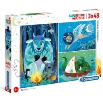 Puzzle Fantasztikus karakterek 3x48 db-os Clementoni