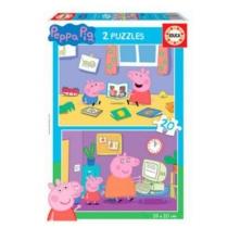 Puzzle Peppa malac olvas és számítógépezik 2x20 db-os Educa