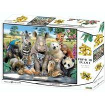 Puzzle állatos csoportkép hologramos 3D hatású 500 db-os