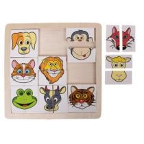Puzzle állatos felezős 9 állatfejjel 18 db-os Woody