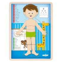 Puzzle emberi test fiú fa 12 db-os Woody