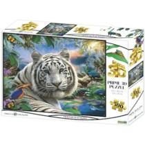 Puzzle fehér tigris hologramos 3D hatású 500 db-os