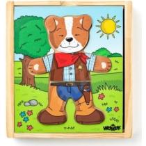 Puzzle öltöztető kutya Doggie 18 db-os Woody