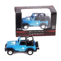 Rendőr jármű kék fém terepjáró nyitott 1:72