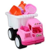 Rózsaszín dömper homokozó kiegészítőkkel műanyag