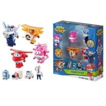 Super Wings 8 db-os figuraszett, Jett, Dizzy, Paul, Grand Albert (kicsi) és mini figurák