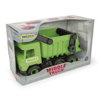 Teherautó billenős platóval műanyag zöld 38 cm