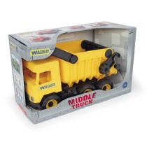 Teherautó billenthető platóval műanyag sárga 38 cm