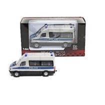 Teherautó ezüst fém rendőr mikrobusz 1:64