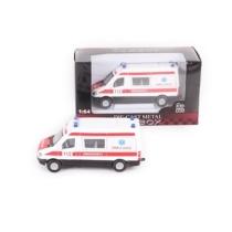 Teherautó fehér fém mentőautó 1:64
