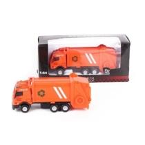 Teherautó narancssárga fém kukásautó 1:64