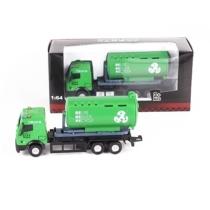 Teherautó zöld fém szelektívgyűjtő kukásautó zárt 1:64