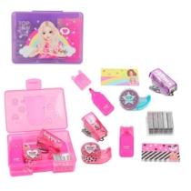 Top model mini írószer szett lila (színes kiemelő, gémkapocs, tűzőgép, tűzőkapocs, ragasztó szallag,