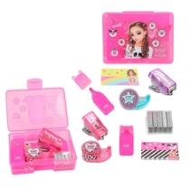 Top model mini írószer szett pink (színes kiemelő, gémkapocs, tűzőgép, tűzőkapocs, ragasztó szallag,