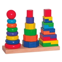 Torony piramis játék Montesszori fa 26 db-os Woody