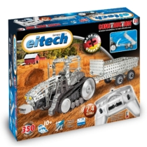 Traktor építőjáték utánfutóval távirányítós 350 db-os szerszámokkal fém Eitech 1:28