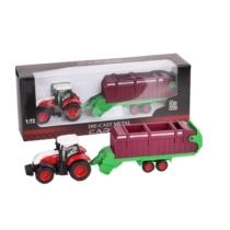 Traktor fém piros-fehér és takarmánygyűjtő konténer 1:72