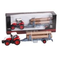 Traktor fém piros-fehér pótkocsival és farakománnyal 1:72