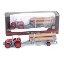 Traktor Truck 928 fém pótkocsival és farakománnyal 1:72