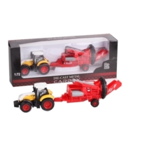 Traktor fém sárga-fehér mezőgazdasági gép pótkocsival 1:72