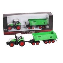 Traktor fém zöld-fehér pótkocsival és nyitott konténerrel 1:72