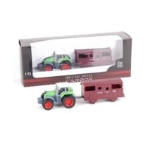 Traktor fém zöld vagonnal 1:72