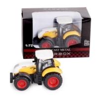 Traktor sárga-fehér fém 1:72