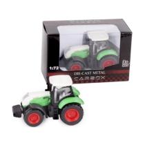 Traktor zöld-fehér fém 1:72