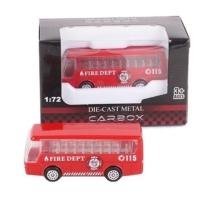 Tűzoltó jármű piros fém busz 1:72
