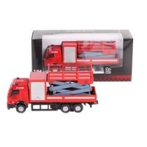 Tűzoltó jármű piros fém emelős tűzoltóautó 1:64