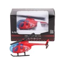 Tűzoltó jármű piros fém helikopter 1:72