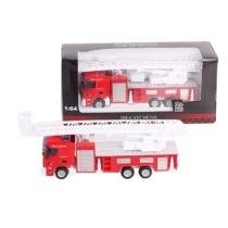 Túzoltó jármű piros fém létrás tűzoltóautó 1:64