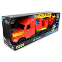 Tűzoltó kamion vizet pumpáló tömlő, világítós lámpával műanyag piros Magic Truck