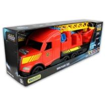 Tűzoltó kamion vizet pumpáló tömlő, világítós lámpával műanyag piros Magic Truck 77 cm