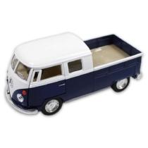 VW fém kisbusz hátrahúzós kék 1:34