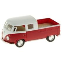 VW fém kisbusz hátrahúzós piros 1:34